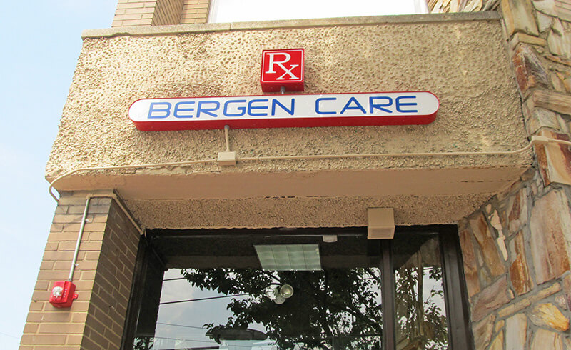 Bergen Care Pharmacy Store Sign